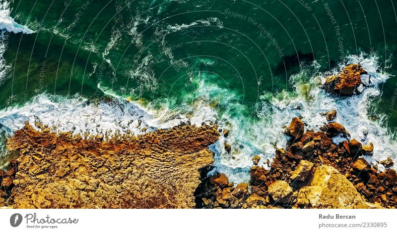 Ocean Waves Crushing On Rocky Beach Landscape Environment Nature Summer Beautiful weather Warmth Hill Coast Discover Vacation & Travel Multicoloured Adventure