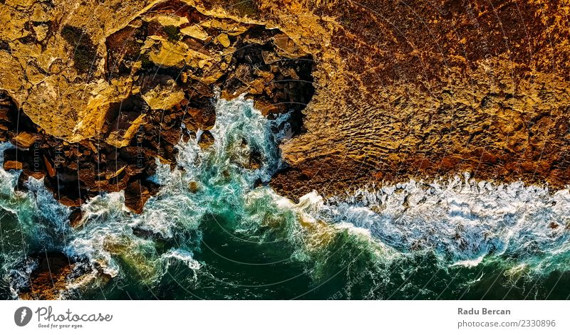 Aerial View Of Ocean Waves Crushing On Rocky Beach Environment Nature Landscape Water Summer Weather Wind Hill Coast Bay Island Exceptional Simple