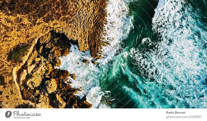 Aerial View From Flying Drone Of Ocean Waves Environment Nature Landscape Earth Sand Water Summer Weather Bad weather Storm Wind Gale Hill Rock Coast Beach