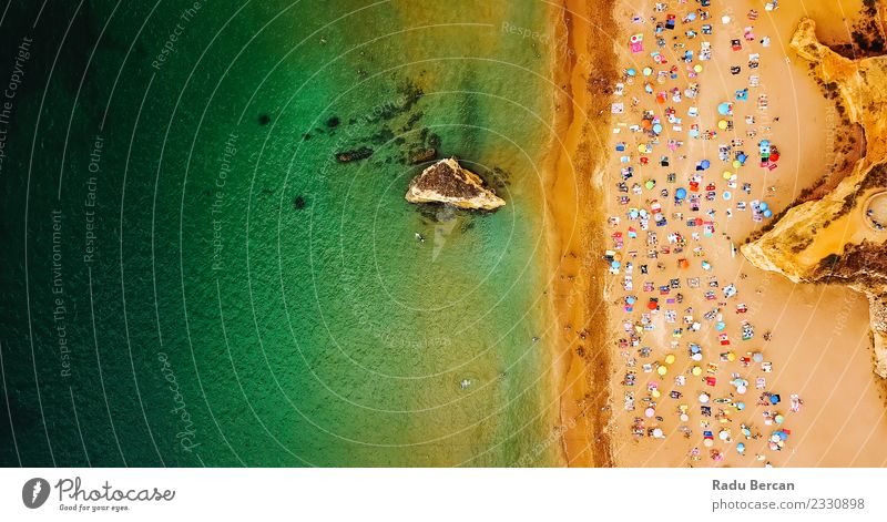 Aerial View Of People Having Fun On Lagos Beach Lifestyle Exotic Joy Wellness Swimming & Bathing Vacation & Travel Summer Summer vacation Sun Sunbathing Ocean