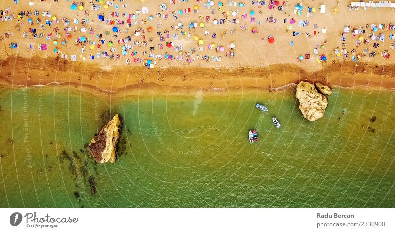 Aerial View From Flying Drone Of People On Lagos Beach Swimming & Bathing Vacation & Travel Tourism Summer Summer vacation Sunbathing Ocean Environment Nature