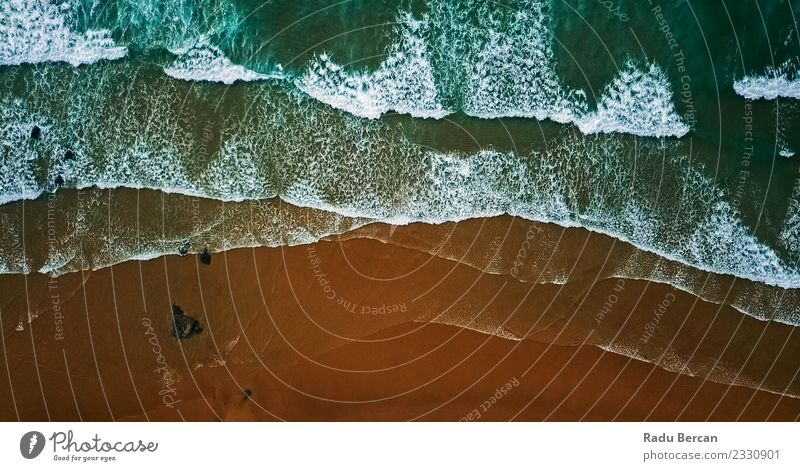 Aerial View From Flying Drone Of Ocean Waves Crushing Environment Nature Landscape Sand Water Summer Beautiful weather Coast Beach Bay Island Exceptional Simple