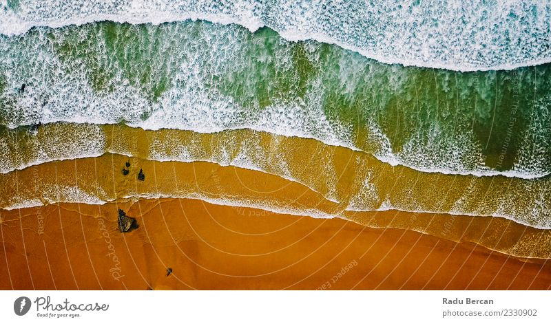 Aerial View From Flying Drone Of Ocean Waves Crushing On Beach Nature Vacation & Travel Blue Summer Colour Water Landscape Warmth Environment Coast Brown Orange