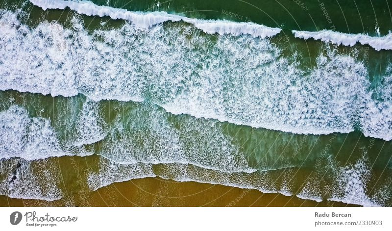 Aerial View From Flying Drone Of Ocean Waves On Beach Environment Nature Landscape Sand Water Summer Beautiful weather Warmth Coast Simple Exotic Far-off places