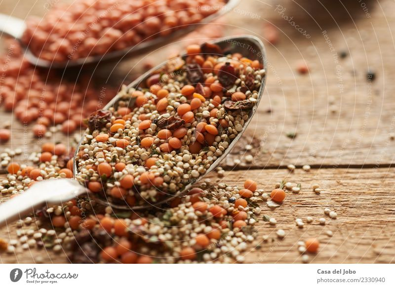 red lentils, white quinoa, barberries on old spoon Vegetable Nutrition Eating Dinner Vegetarian diet Diet Spoon Lifestyle Healthy Fitness Overweight Allergy