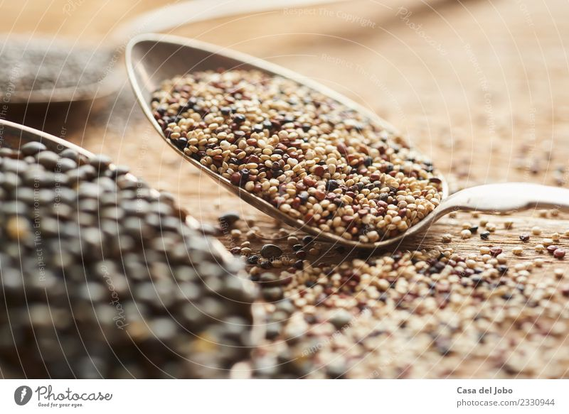 white, red and brown quinoa seeds on silver spoon Green White Red Dish Black Eating Warmth Yellow Lifestyle Healthy Natural Wood Health care Food Brown