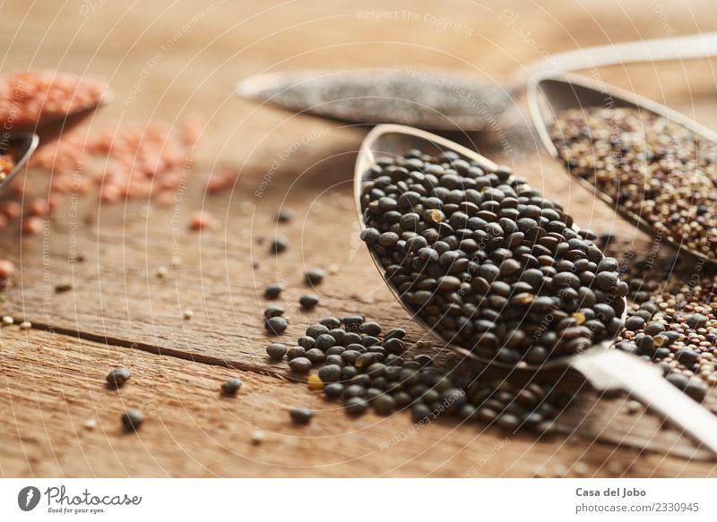 detail of puy lentils on old silver spoon Beautiful Green White Red Dish Black Eating Yellow Natural Wood Brown Nutrition Fresh Table Vegetable