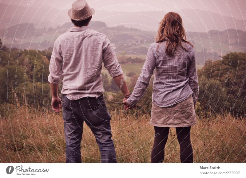 Human being Woman Man Nature Vacation & Travel Summer Adults Far-off places Environment Landscape Mountain Freedom Happy Couple Friendship Together