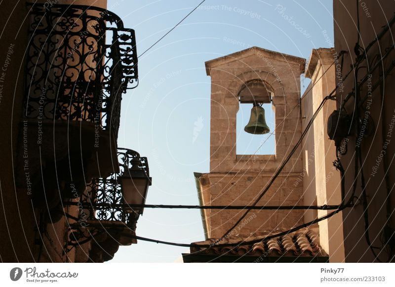 Campanile - Belltower of Castelsardo, Sardinia, Italy Sightseeing City trip Summer Culture Water Hill Europe Village Small Town Church Dome Tower Bell tower