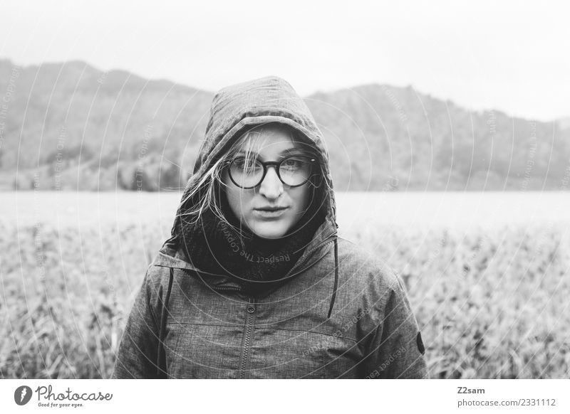 Young woman in rainy weather Feminine Youth (Young adults) 18 - 30 years Adults Environment Nature Landscape Autumn Bad weather Rain Alps Mountain Fashion