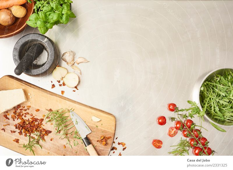preparing salad in gastro kitchen Food Vegetable Lettuce Salad Herbs and spices Eating Breakfast Lunch Dinner Buffet Brunch Organic produce Vegetarian diet Diet