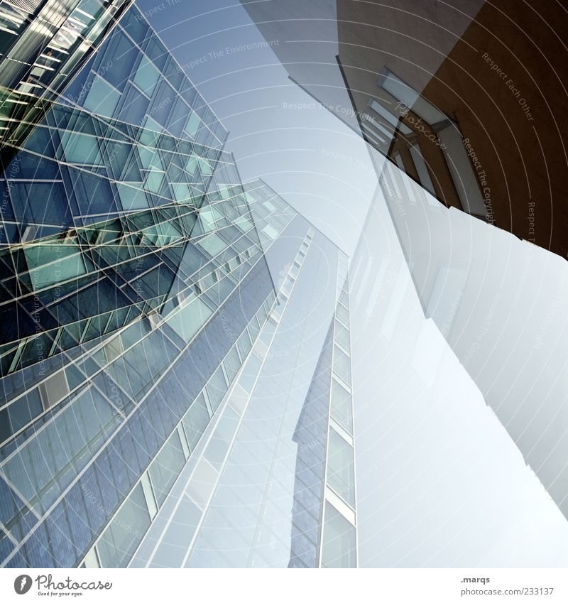 Blue Architecture Building Facade Tall Large High-rise Exceptional Future Perspective Bank building Double exposure Office building Direction Abstract Worm's-eye view