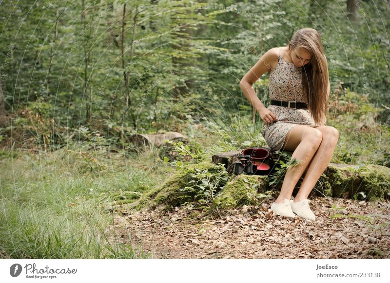 Human being Woman Nature Youth (Young adults) Beautiful Tree Plant Summer Loneliness Adults Forest Relaxation Life Leisure and hobbies Sit Wait