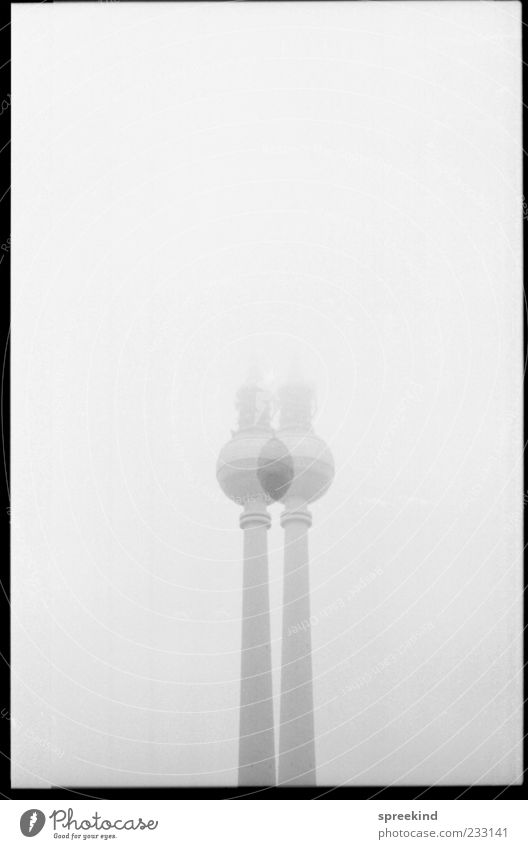 Architecture Gray Fog Esthetic Change Tower Landmark Frame Silver Downtown Berlin Symmetry Capital city Berlin TV Tower Television tower Reduplication