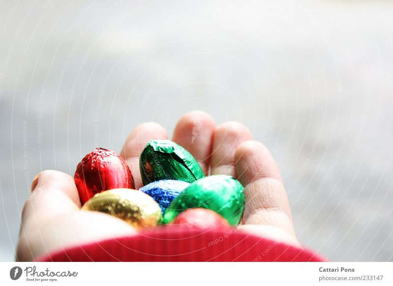 colorful chocolate eggs Food Candy Chocolate Egg Joy Happy Easter Hand Fingers To hold on Sweet Give Multicoloured Bright Delicate Egg race Easter egg