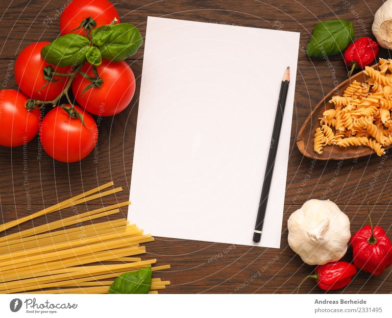 Recipe slip for pasta with ingredients Food Vegetable Herbs and spices Organic produce Italian Food Notebook Delicious Yellow Healthy top view view from above