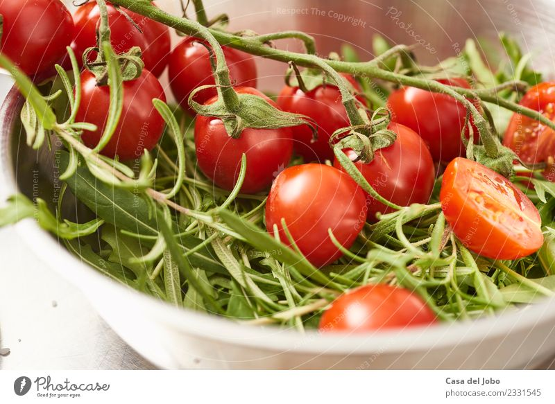 cherry tomatoes in a bowl with salad and herbs Green White Red Dish Lifestyle Healthy Metal Fresh Table Italy Herbs and spices Kitchen Delicious Vegetable