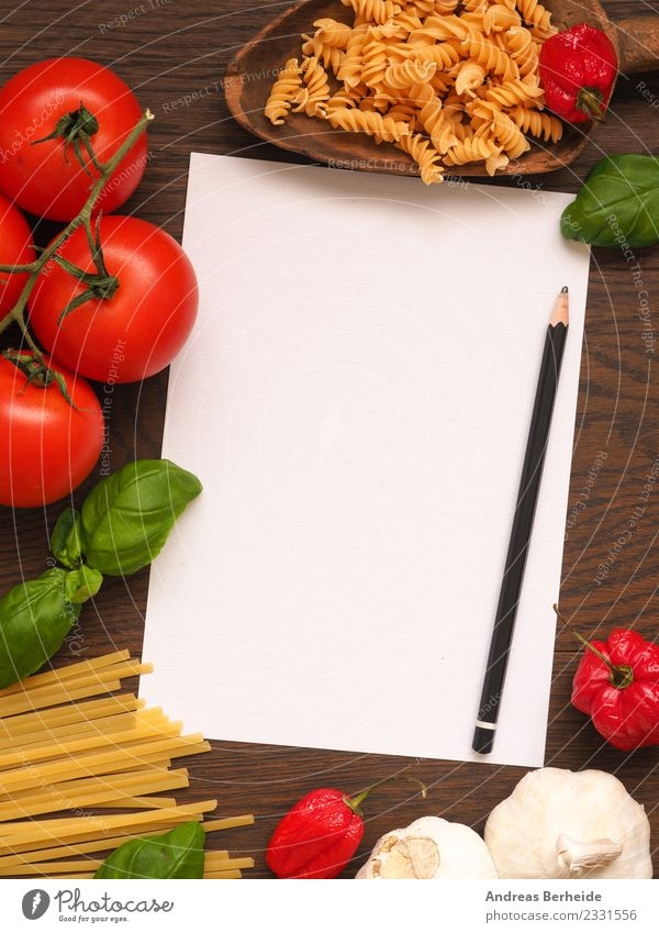 Recipe slip for pasta with ingredients Food Vegetable Herbs and spices Organic produce Vegetarian diet Italian Food Delicious Yellow Background picture basil