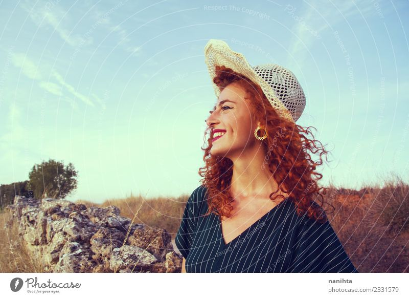 Young redhead woman enjoying a beautiful sunset Lifestyle Elegant Style Joy Beautiful Hair and hairstyles Healthy Wellness Harmonious Well-being Summer