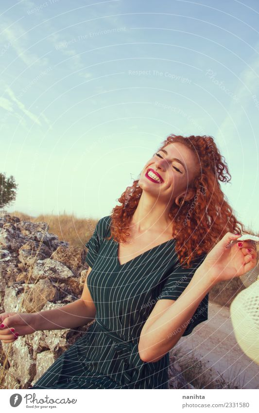 Young redhead woman enjoying life in holidays Lifestyle Elegant Style Joy Hair and hairstyles Healthy Wellness Well-being Vacation & Travel Freedom Summer