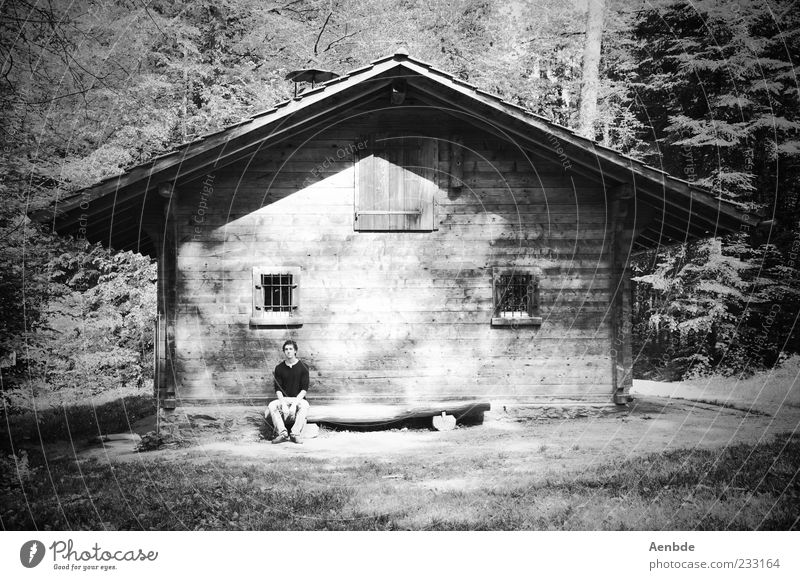 man in the woods Harmonious Relaxation Calm Meditation Trip Human being Masculine 1 Nature Landscape Plant Tree Forest Natural Hut Hillbilly Black & white photo