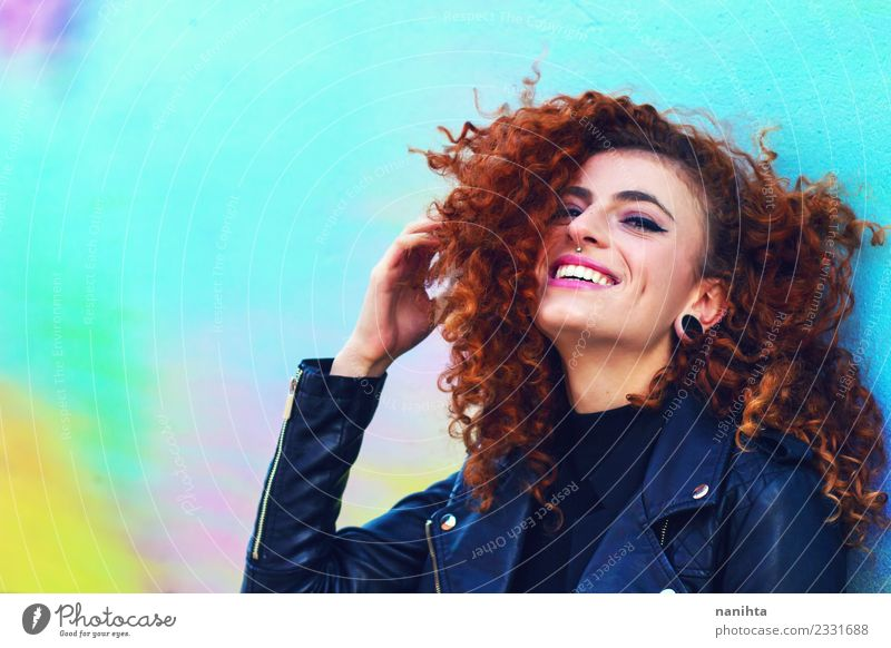 Young happy woman with an urban style Lifestyle Style Joy Beautiful Hair and hairstyles Face Human being Feminine Young woman Youth (Young adults) 1