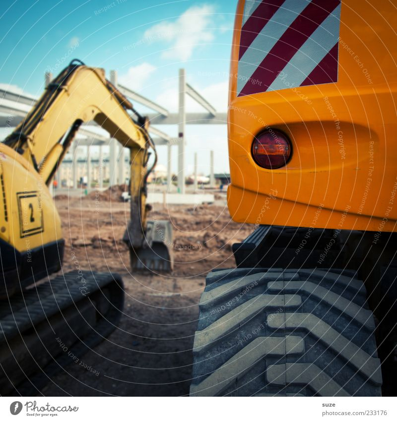 Yellow Work and employment Industry Construction site Beautiful weather Services Tire tread Workplace Excavator Vehicle Economy Closing time Rear light