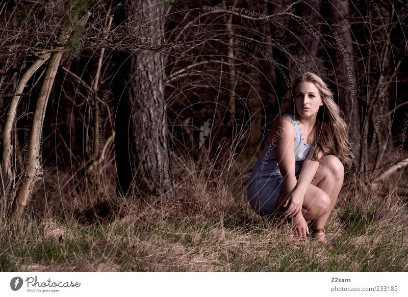 Human being Nature Youth (Young adults) Beautiful Tree Forest Environment Landscape Feminine Emotions Grass Hair and hairstyles Style Dream Blonde Elegant