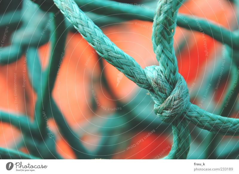 Old Green Red Rope Net Muddled Knot Fishing net