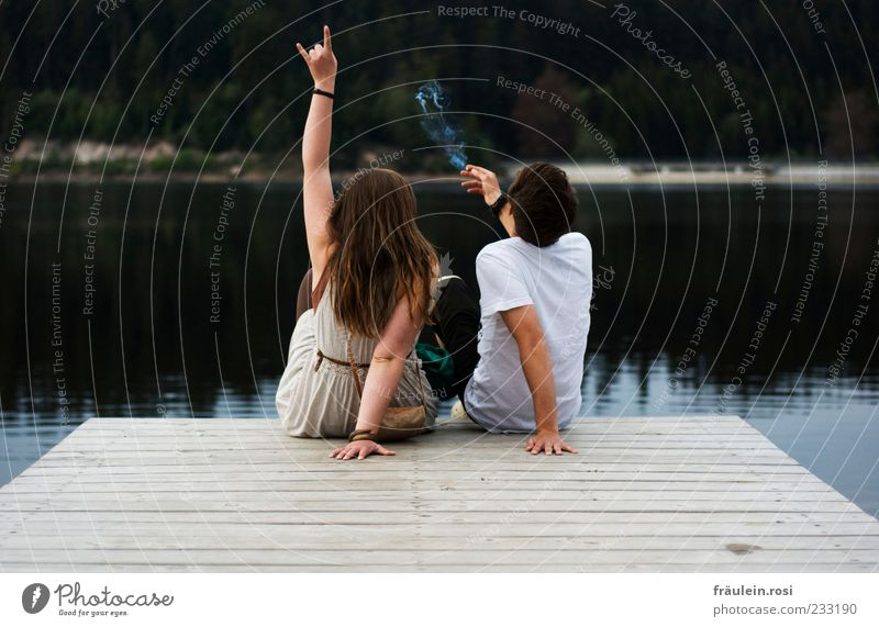 Human being Youth (Young adults) Water Hand Joy Adults Relaxation Lake Couple Young woman Together Young man Back Arm Sit 18 - 30 years