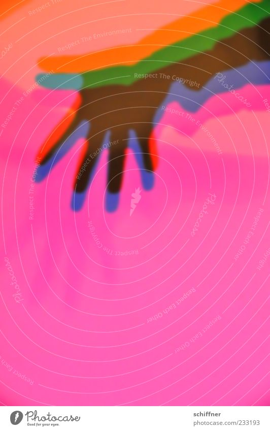 of the Maîtres hand, colorful Human being Hand Fingers Blue Multicoloured Yellow Green Violet Pink Red Splay Wave Welcome Additive colour blending Shadow