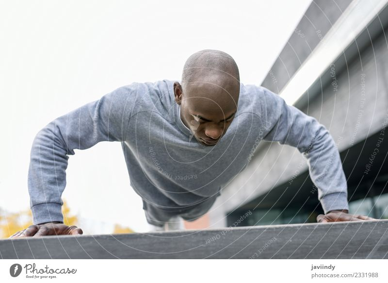 Fitness black man exercising push ups. Lifestyle Body Sports Human being Man Adults Youth (Young adults) 1 Muscular Strong Black Power Effort african athlete