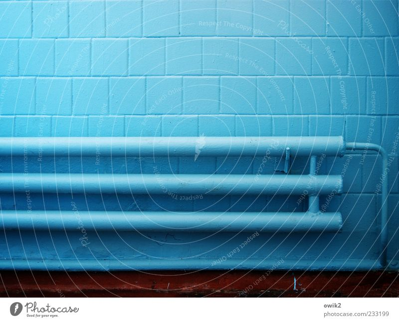 Blue Cold Wall (building) Wall (barrier) Bright Facade Energy industry Gloomy Fresh Crazy Technology Simple Clean Creepy Tile Pipe