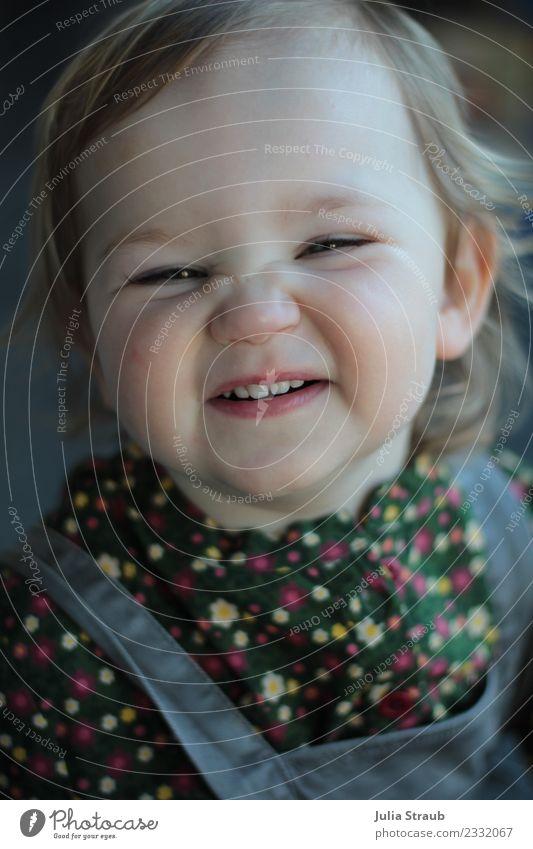 Human being Green Joy Girl Funny Feminine Gray Free Infancy Blonde Smiling Happiness Toddler Brash Blouse 1 - 3 years