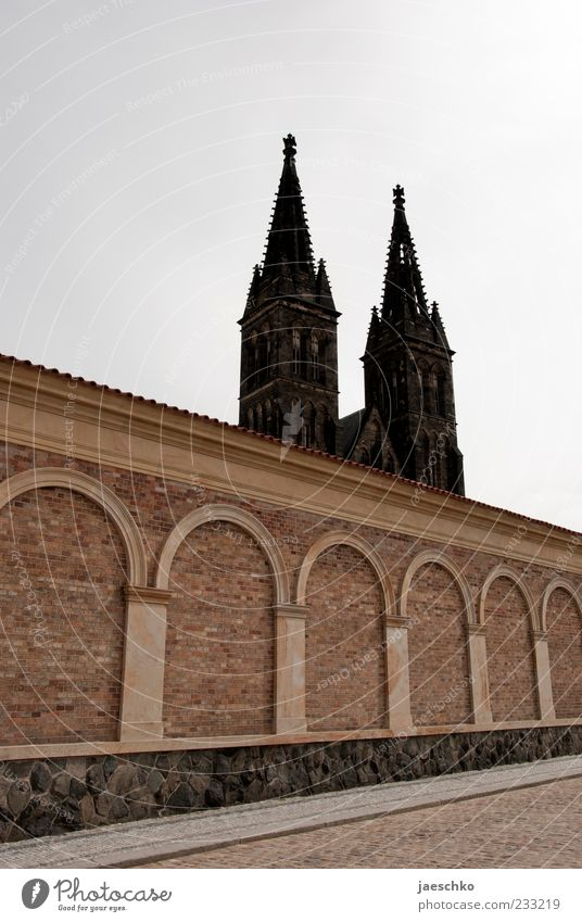 Wall (building) Architecture Religion and faith Wall (barrier) Church Historic Castle Landmark Dome Tourist Attraction Sightseeing Gothic period Fortress Prague Building Vacation & Travel