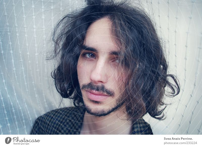 Human being Youth (Young adults) Beautiful Adults Face Hair and hairstyles Head Young man Masculine 18 - 30 years Curl Facial hair Long-haired Black-haired Portrait photograph Curly