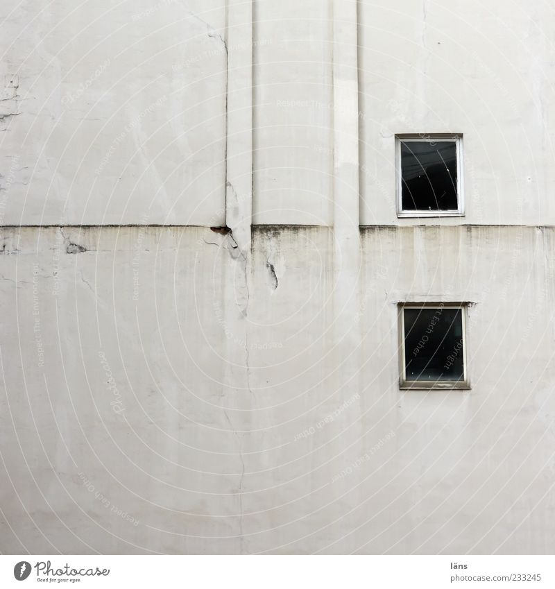 two plus two House (Residential Structure) Facade Window Chimney Old Authentic Dirty Sharp-edged Plaster Colour photo Exterior shot Deserted Copy Space left
