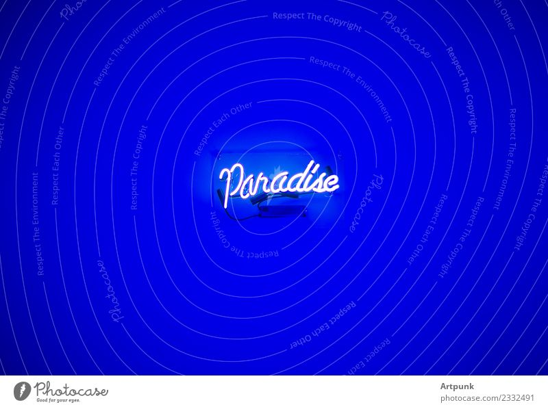 Paradise Neon Sign Vacation & Travel Blue White Interior design Art City life Room Modern Glass Youth culture Violet Bar Word Neon light Neon sign