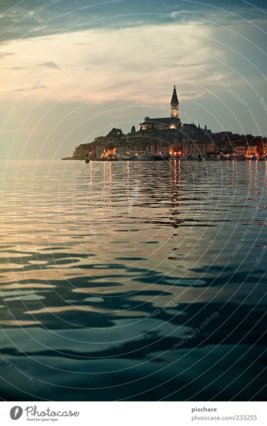 Water City Beautiful Ocean Far-off places Coast Church Retro Skyline Wanderlust Surface of water Old town Croatia Port City Church spire Sunrise