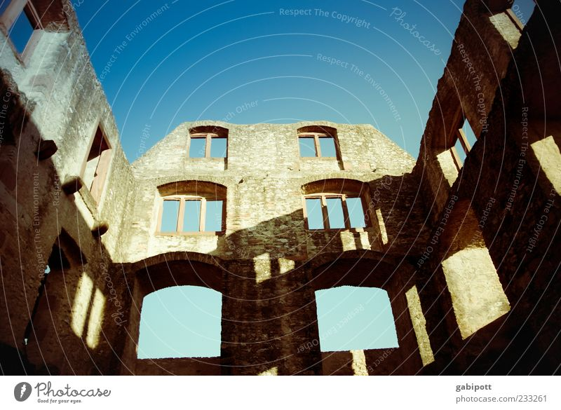 Sky Old Blue House (Residential Structure) Window Wall (building) Wall (barrier) Brown Going Facade Broken Change Uniqueness Transience Historic Past
