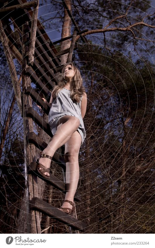 Human being Youth (Young adults) Beautiful Tree Adults Forest Environment Landscape Feminine Hair and hairstyles Style Legs Power Blonde Elegant Sit