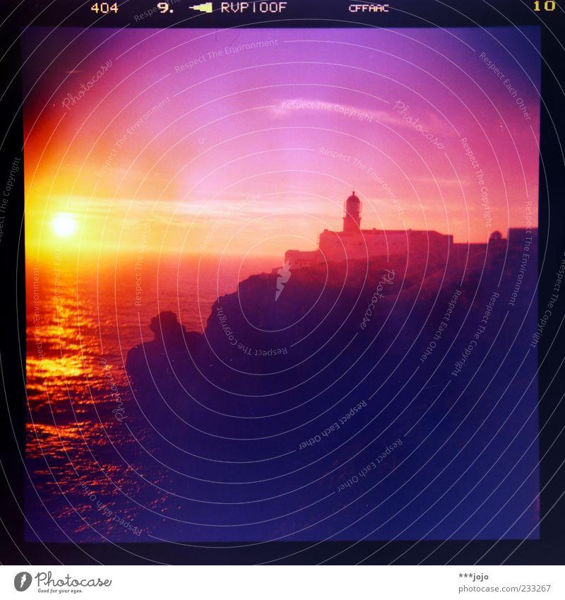 Nature Ocean Far-off places Coast Horizon Waves Pink Rock Illuminate Romance Idyll Manmade structures Navigation Lighthouse Dusk Wanderlust