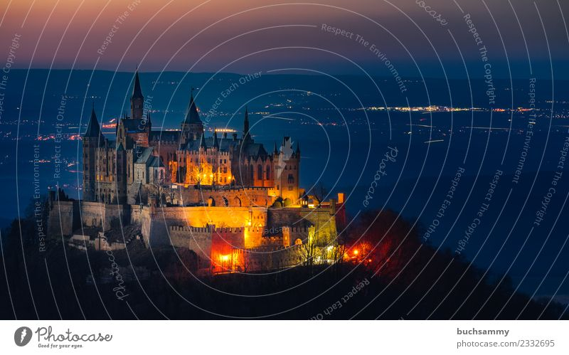 Hohenzollern Castle Landscape Tower Old Famousness Baden-Wuerttemberg Lighting Castle Hohenzollern Europe summit castle Swabian Jura ancestral seat Germany Lock