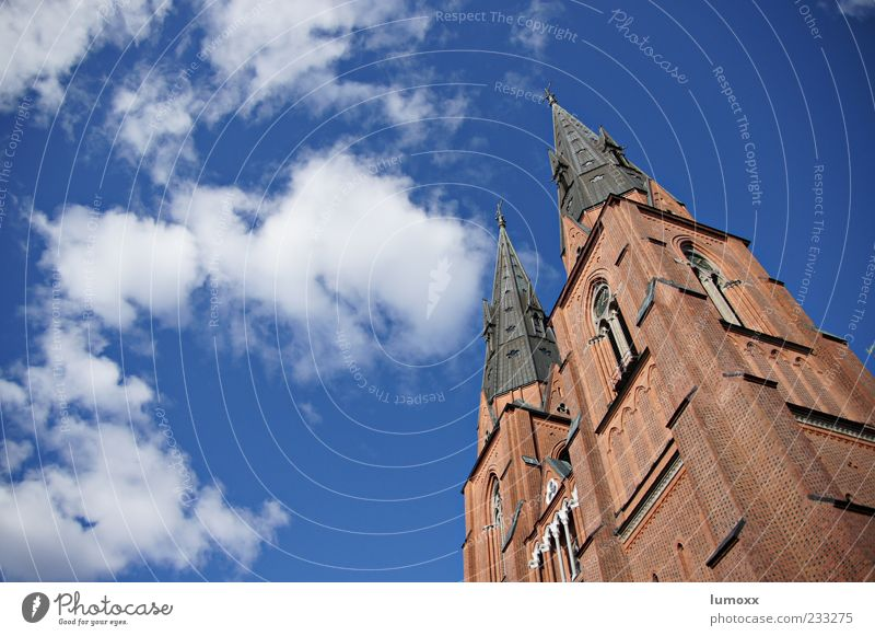 peak performance Design Tourism Far-off places Summer Sun Air Sky Clouds Beautiful weather Uppsala Sweden Europe Old town Dome Manmade structures Architecture