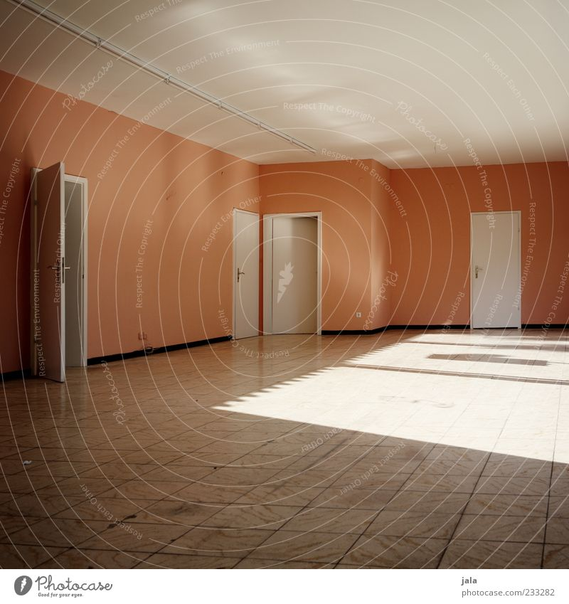 lightroom Door Ceiling Floor covering Tile Gloomy Pink White Empty Colour photo Interior shot Deserted Day Light Light (Natural Phenomenon) Wall (building) Room
