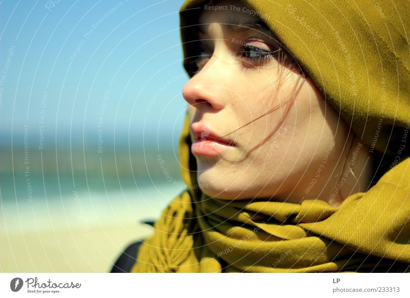 Mustard cashmere scrutiny Human being Feminine Young woman Youth (Young adults) Head Face Eyes Mouth Lips 1 18 - 30 years Adults Fashion Scarf Headscarf Looking