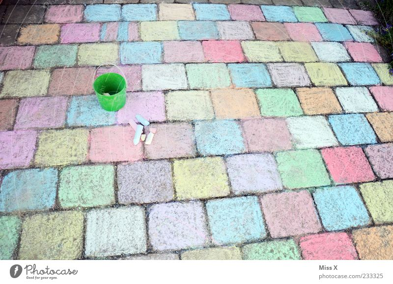 a lot of work Leisure and hobbies Playing Children's game Art Lanes & trails Draw Large Multicoloured Infancy Chalk Paving stone Stone Sidewalk Bucket