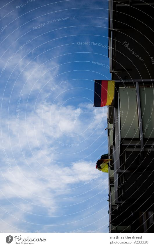 Sky Red Summer Clouds Black House (Residential Structure) Window Wall (building) Wall (barrier) Germany Gold Facade Flag Beautiful weather German Flag