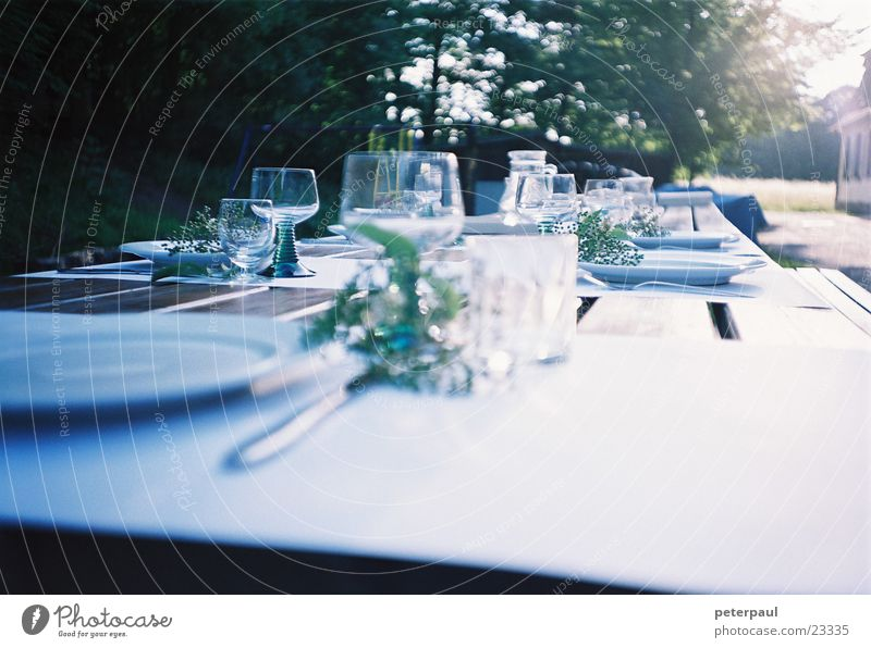 delights of the table Table Wine glass Set meal Summer evening Edge of the forest Back-light Nutrition Exterior shot