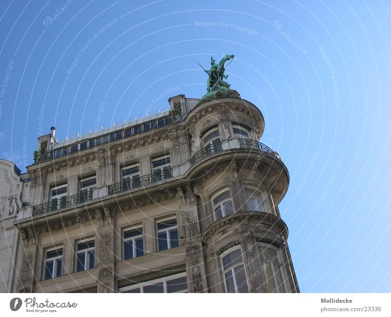 Sky Blue House (Residential Structure) Window Architecture Small Tall Round Under Balcony Vienna Austria